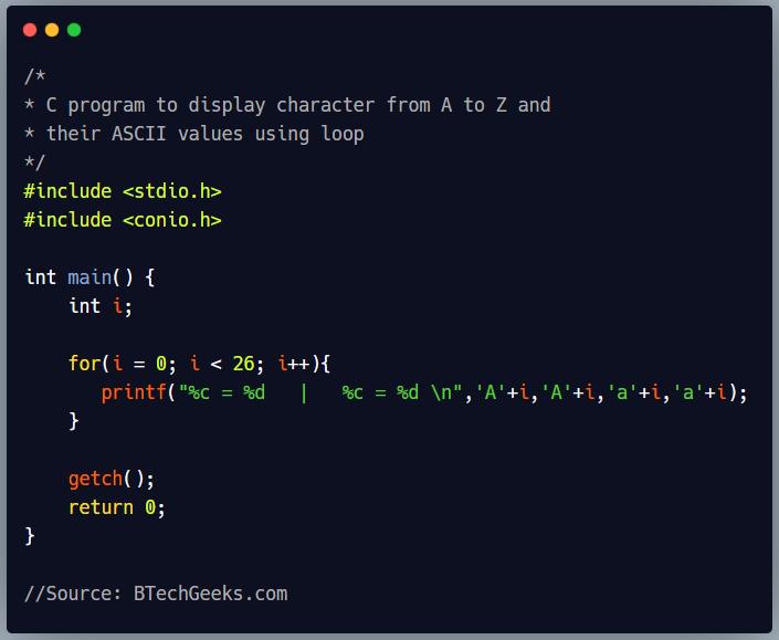C program to print the ASCII value of all alphabets