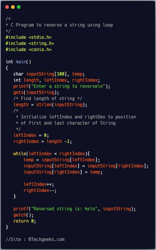 C program to reverse a string by swapping characters inside loop