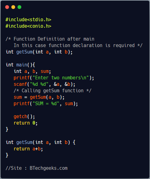 C program to show function definition after main