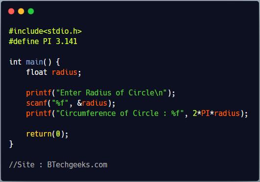 C program to shows the use of define Preprocessor Directive to define a constant