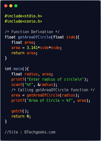 Calling a Function in C Programming