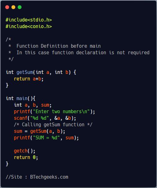 Function Declaration in C Programming