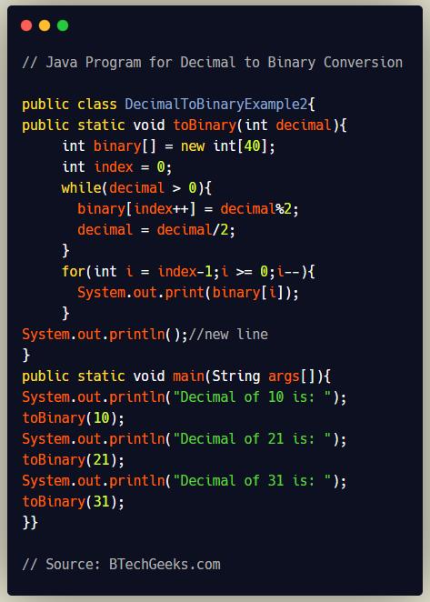 Java Program for Decimal to Binary Conversion