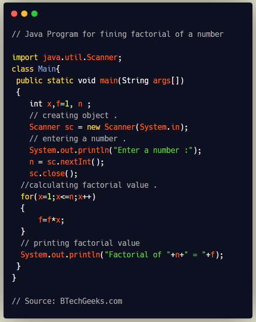 Java Program for Finding Factorial of a Number
