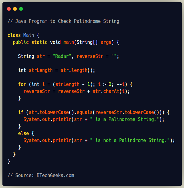 Java Program to Check Palindrome String
