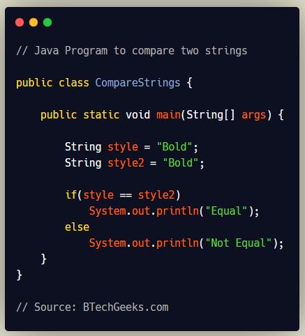 Java Program to Compare Strings