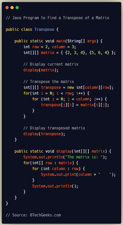 Java Program to Find Transpose of a Matrix