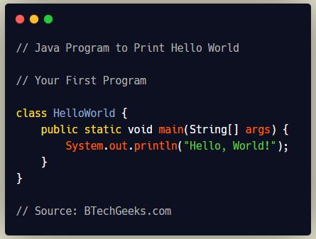 Java Program to Print Hello World