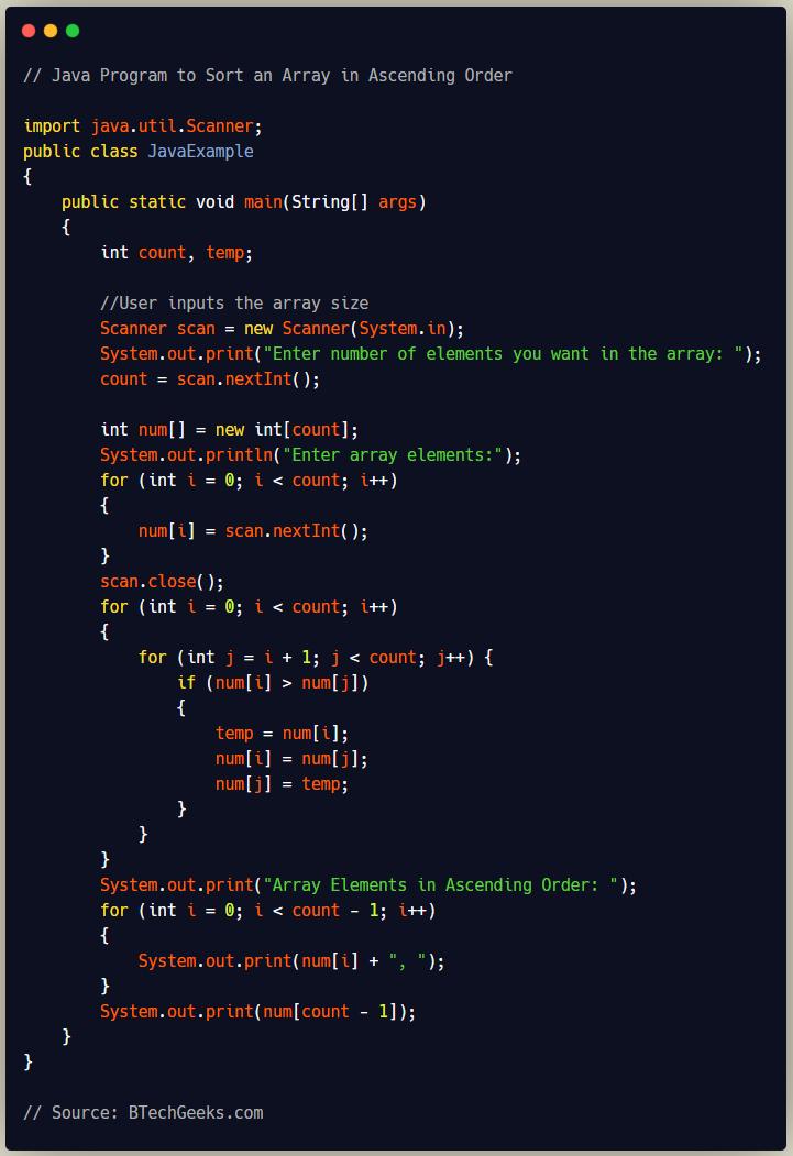 Java Program to Sort an Array in Ascending Order