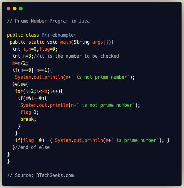Prime Number Program in Java