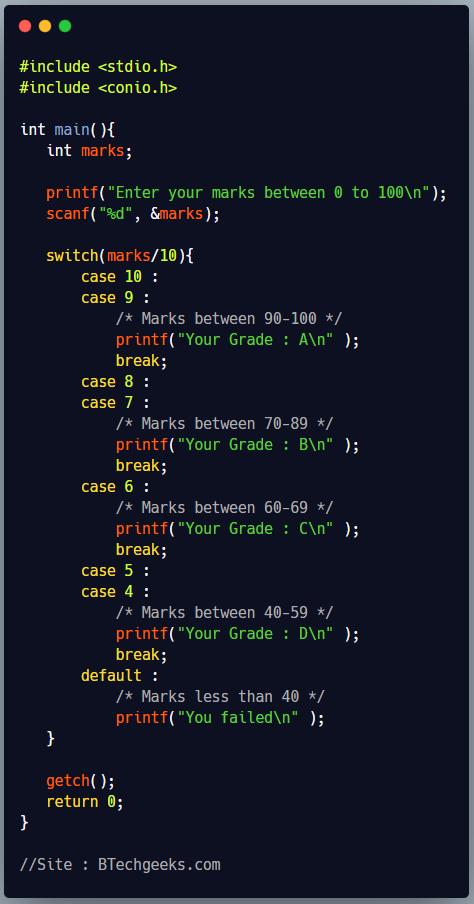 Switch Statement in C Programming