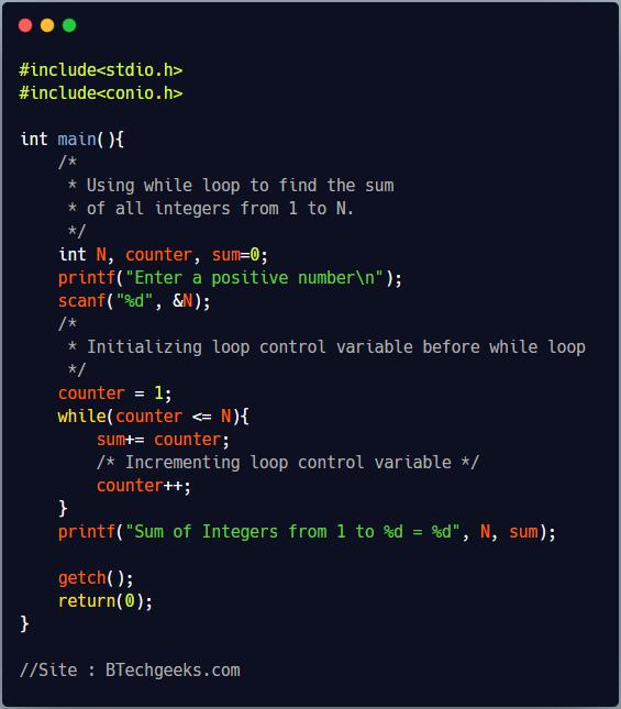 While Loop in C Programming
