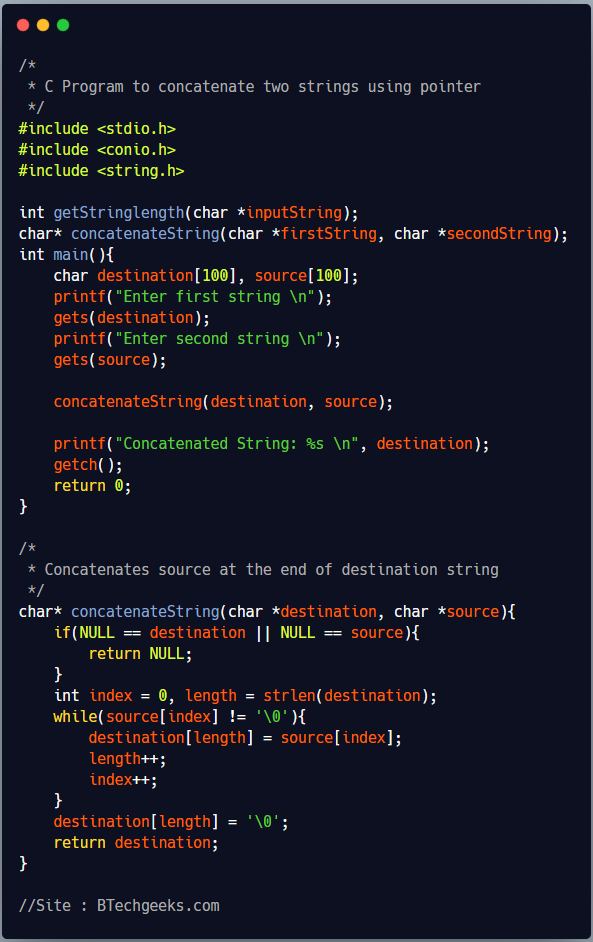 Write a program in c to concatenate two strings using pointers