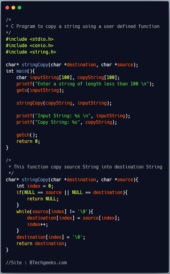 Write a program in c to copy string using pointers in a user defined function
