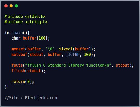 fflush C Library Function
