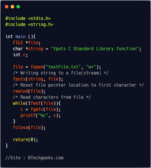 fputs C Library Function