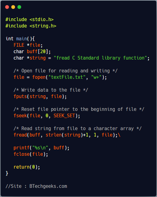 fread C Library Function