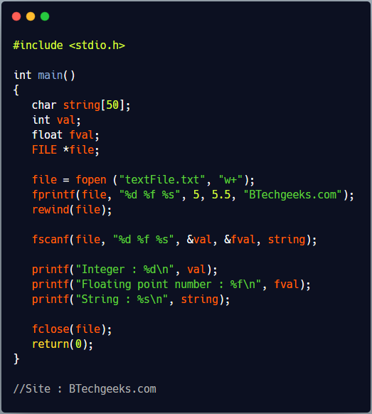 fscanf C Library Function