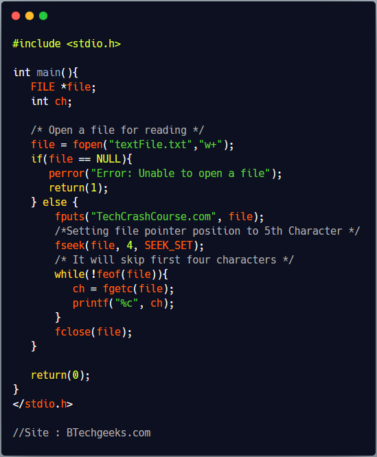 fseek : library function