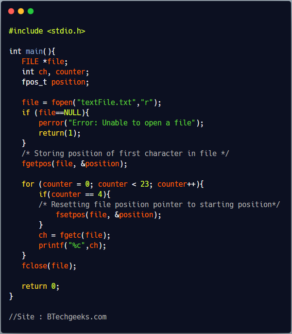 fsetpos C Library Function