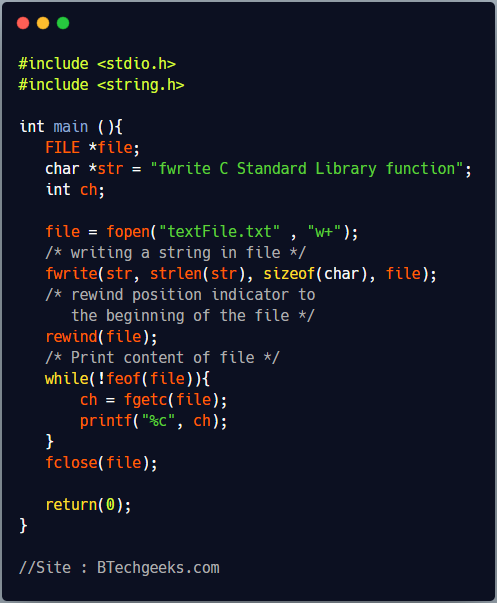 fwrite C Library Function