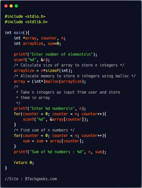 malloc C Library Function