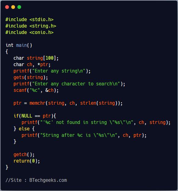 memchr C Library Function