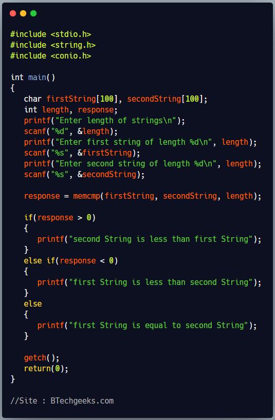 memcmp C Library Function