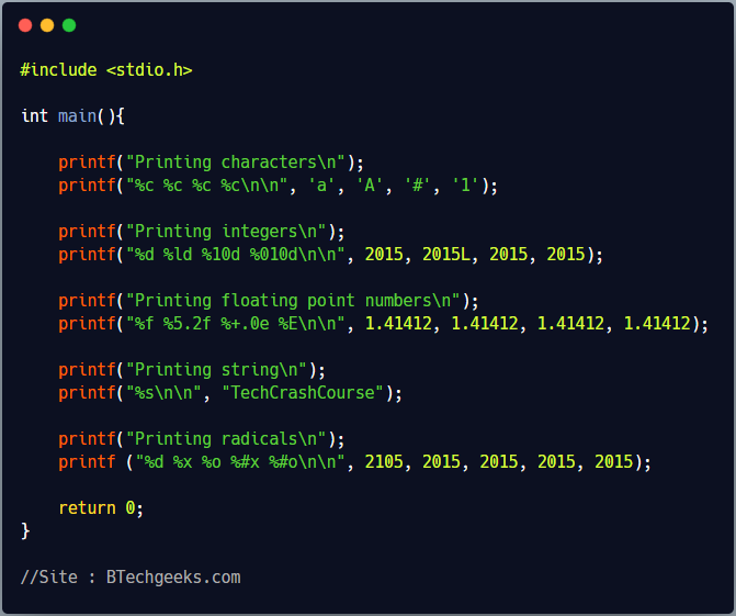 printf and scanf function in C Programming