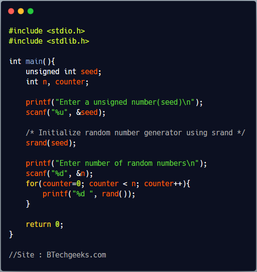 rand C Library Function
