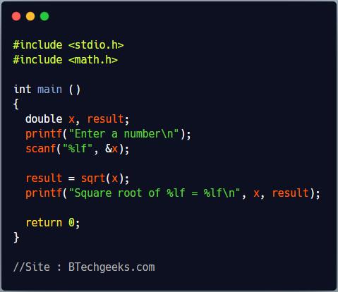 sqrt C Library Function