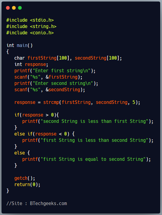 strcmp C Library Function