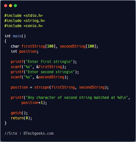 strcspn C Library Function