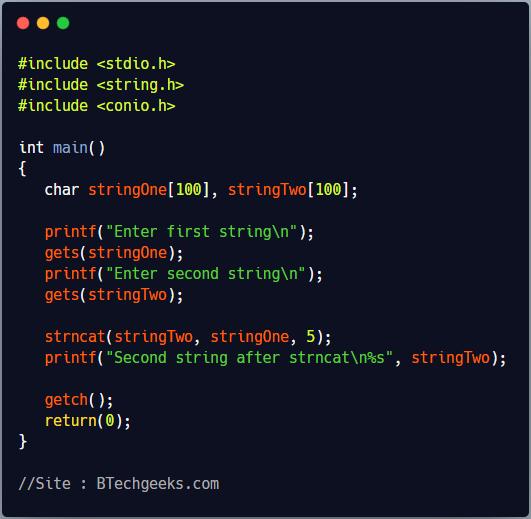 strncat C Library Function