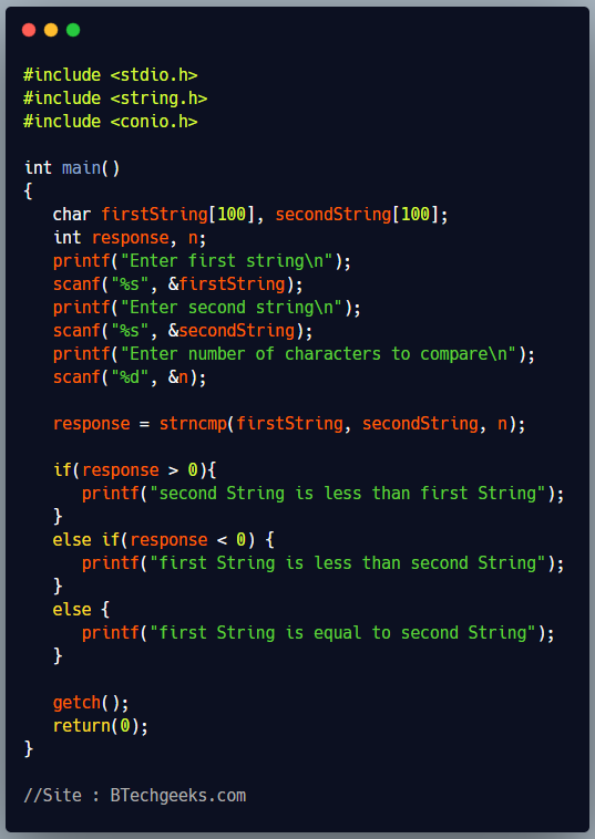 strncmp C Library Function