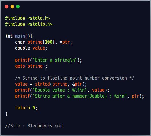 strtod C Library Function