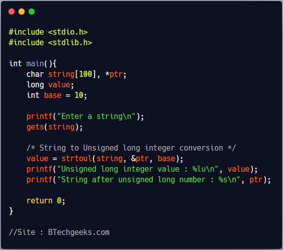 strtoul C Library Function