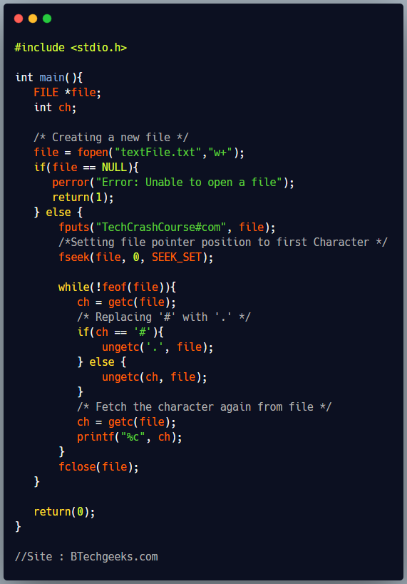 ungetc C Library Function
