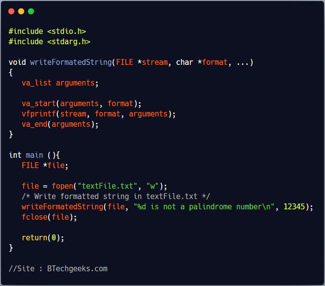 vfprintf C Library Function