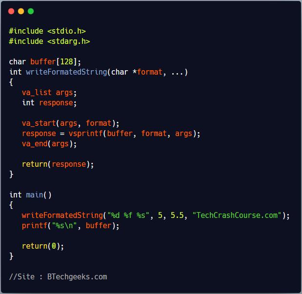 vsprintf C Library Function