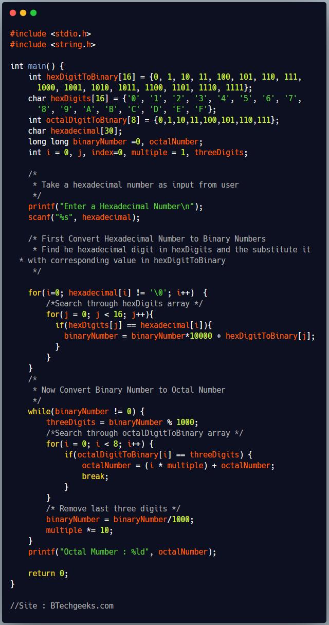 C Program to Convert Hexadecimal Number to Octal Number System