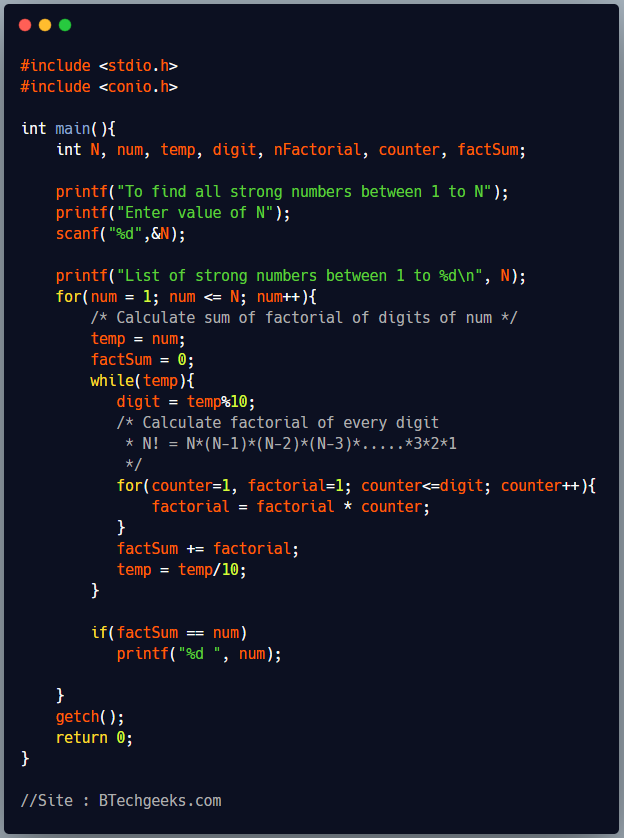 C Program to Print all Strong Numbers Between 1 to N