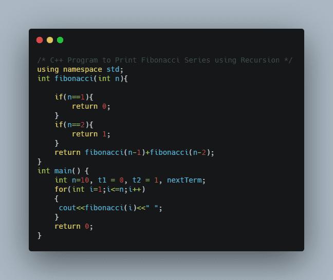 C++ Program to print Fibonacci Series using Recursion