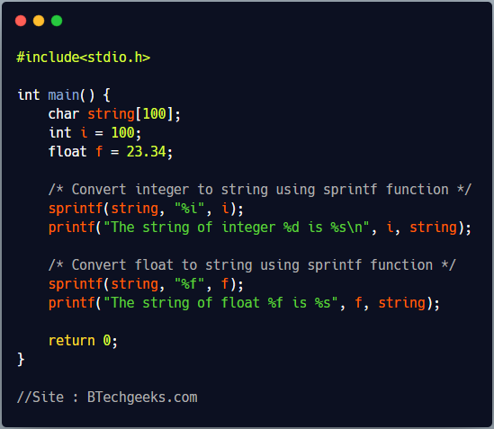 C program to convert any number to string using sprintf function