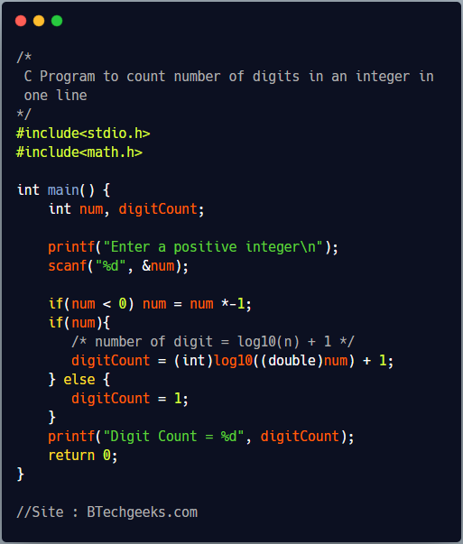 C program to count digits of a number using logarithms