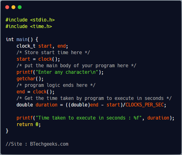 C program to find time taken by a program or function to execute in seconds