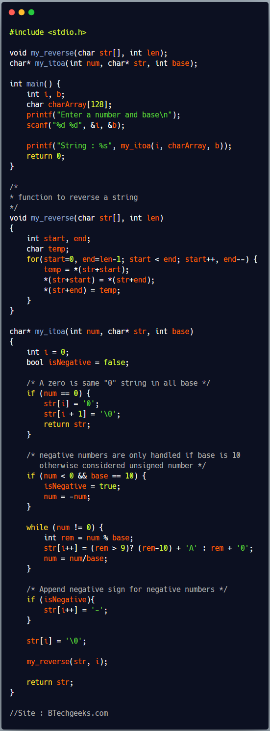 C program to implement your own itoa function