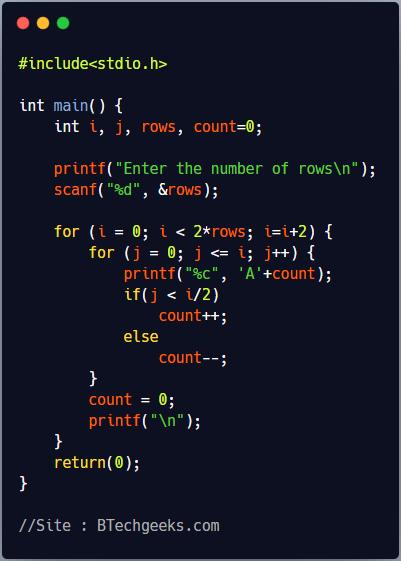 C program to print palindrome triangle pattern