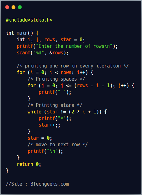 C program to print pyramid star pattern or equilateral triangle star pattern