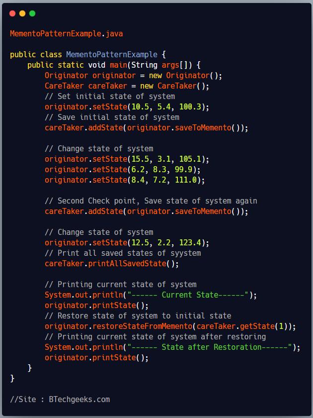 Implementation of Memento Design Pattern 3